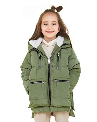 Orolay Children Hooded Down Coat Girls Quilted Puffer Jacket Boys Jackets Green 120CM