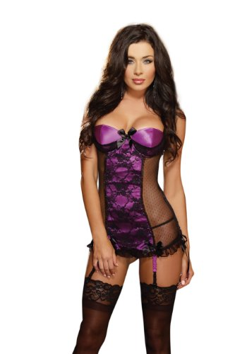 Dreamgirl Women's Burlesque Bombshell Garter Slip and Thong Set, Orchid/Black, Small