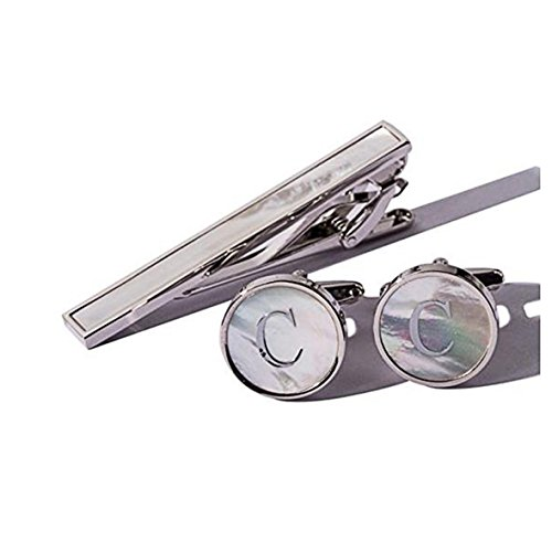 Digabi Platinum Plated 18K Rectangular Mother of Pearl Tie Clip and Initial Letter Cufflinks Set with Nice Box (Silver C)