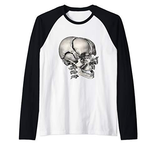 (Vintage Human Anatomy Skeleton Skull and Head Bones Raglan Baseball Tee)