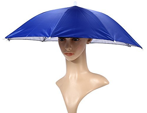 Foldable Sun Rain Umbrella Hat Cap Head Elastic Headband Fishing Golf Hiking Headwear Camping Outdoor Blue (Paper Pick Mechanism)
