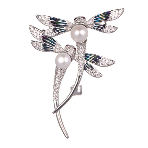 Gemstone Star Brooch (Halloween Brooch,Christmas Brooch,AAAA 7.5+8.5mm Double Dragonfly Pearl Brooch by WenQian Jewelry®)