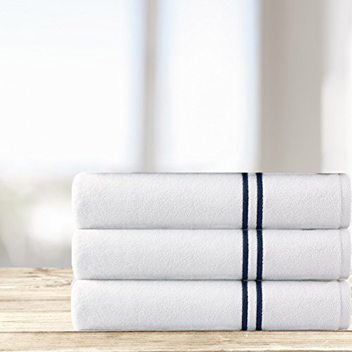 Kassatex Carrara Double Line Embroidered Turkish 6 Piece Towel Set, 100% combed long staple Turkish cotton - 2 Bath, 2 Hand, 2 Wash | Navy by Kassatex