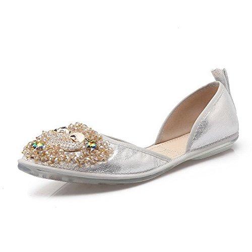 AalarDom Mujer Mini Tacón Material Suave Sólido De salón con Diamantes Sintéticos Plateado