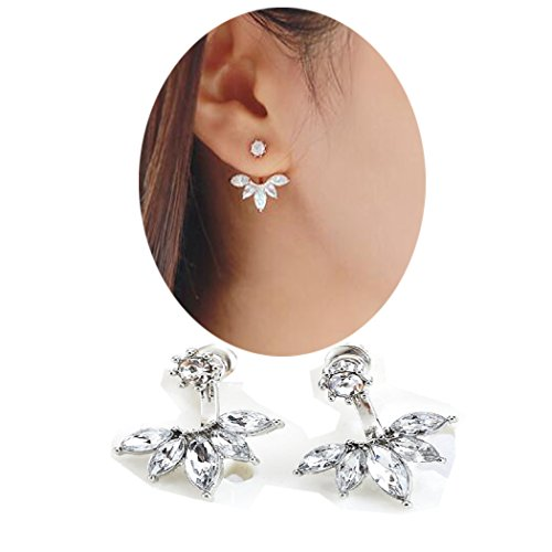 SUNSCSC Clear Crystal Rhinestone Dangle Water Drop Simple Ear Stud Earrings (Silver Flower)