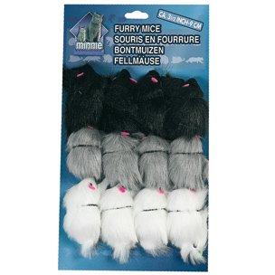 MINNIE Katzenspielzeug: 12 FELLMÄUSE langhaarig 9cm #500353