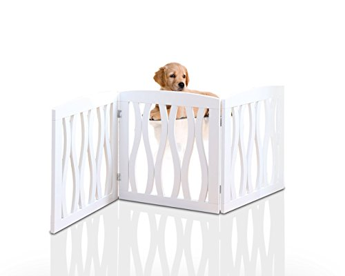 Wooden Pet Gate, Foldable and Freestanding, For Indoor Home and Office Use. Keeps Pets Safe [White Cascade Wave…