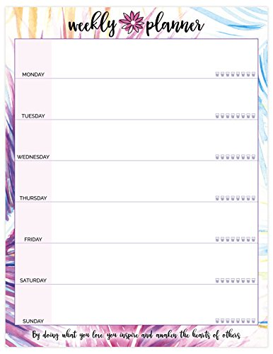 """bloom daily planners Weekly Planning Pad - Peacock - Double Sided Tear Off To Do Pad - 8.5"""" x 11"""""""