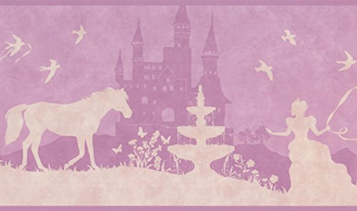 Princess Castle Horse Beige Mauve Purple Wallpaper Border for Kids Bedroom Bathroom Playroom, Roll 15' x 9
