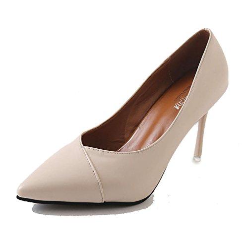 tempérament mode et femmes Beige été talon Couleur 39 pour Sexy talons Noir hauts mince taille Splice pointu Printemps LBDX chaussures z168xq