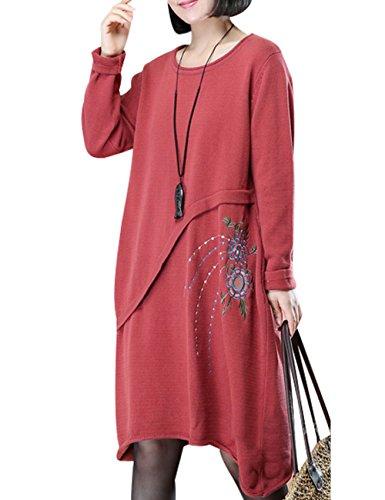Youlee Mujeres Alinear Manga larga Suéter bordado Rojo