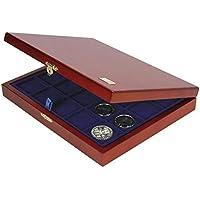 Münzen-Kassette Holz: Münzenkassette Echt Holz für verschiedene Münzen mit 3 Einsätzen