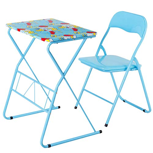 Bright Color Folding Table - Costzon Kids Table and Chair Set, Study Desk and Folding Chair for Boys & Girls, Activity Table Set with Steel Frame, Non-Slip Mats and Bright Color for 4-12 Years, Kids Furniture, Blue