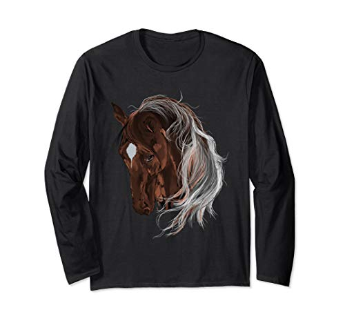 Brown Horse Forelock Art Long Sleeves Horses Tee Shirt Gifts