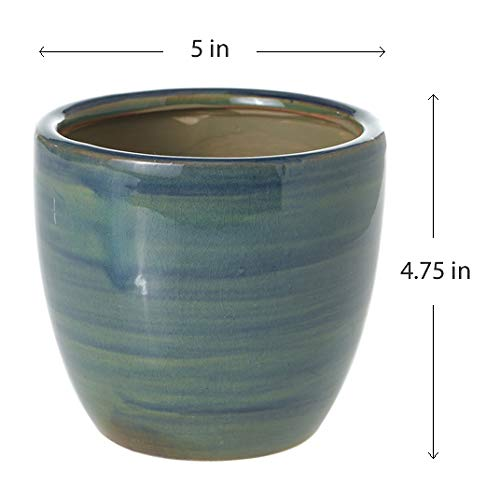 Teal Round Terra Cotta Planter – 5 X 5 X 4.75 Inches – Accent Decor Stormi Artisan Pot – Modern Vase Decor for Home or Office.