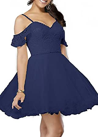 Cold Shoulder Prom Party Dress 2018 Beaded Lace Tulle Short Homecoming Dresses For Juniors S083 (26W,Navy Blue)