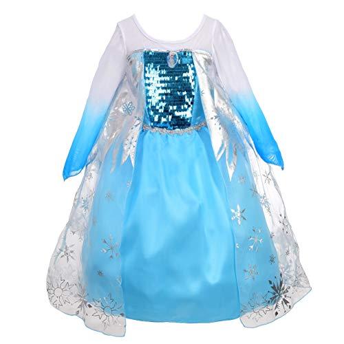 Dressy Daisy Girls' Princess Elsa Costume Fancy Party Dresses w/Cape Size 5