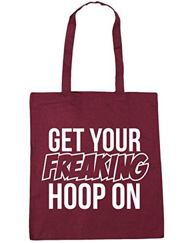 HippoWarehouse Get Your Freaking aro en bolsa de la compra bolsa de playa 42cm x38cm, 10litros granate