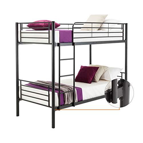 Alek...Shop 2-Story Bed Family Brethren Bedroom Furniture Twin Over Bunk Bed Metal Frame Black W/Ladder Kids Children Teen Adult Dorm Loft, Fraternity