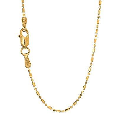 JewelStop 14k Solid Gold Yellow Or White 1mm Diamond-Cut Bar & Bead Ball Necklace, Lobster Claw- 16 18 20 by JewelStop