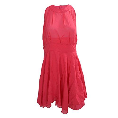 SODIAL(R) Sexy Robe en mousseline de soie irreguliere Slim robe sans manches pour femme Rouge rose XL