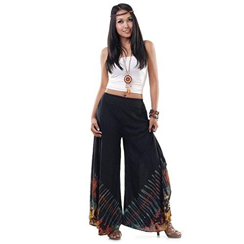 Extrem weite Damen Hippie Ethno Goa Thai Hose Schlaghose 36 38 40 S M Schwarz H6dCUQJ