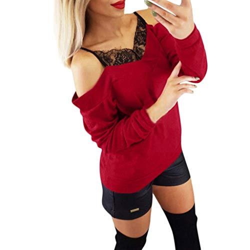 (YKARITIANNA Fashion Women Loose Long Sleeve Off Shoulder Lace Patchwork T Shirt Top Blouse)