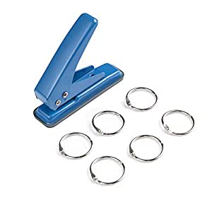 Single Hole Punch Heavy Duty Paper Hole Puncher Small One Hole Punch with Extra 6 Book Rings