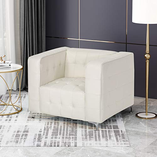 Laura Modern Glam Leather Cube Club Chair, White and Chrome - 2
