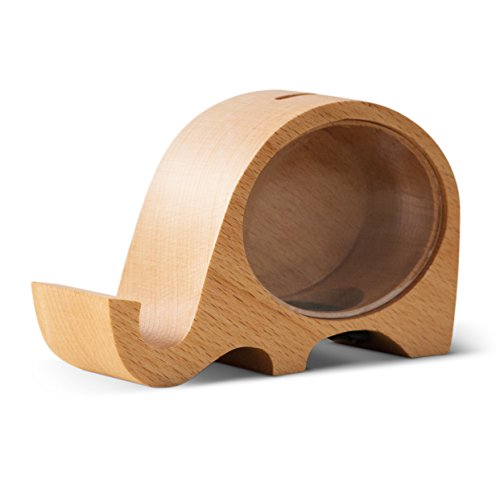 UINSOO Wood Piggy Bank, Mobile Phone Holder, Beech Wood Creative Change Box, Home Furnishing Decorative Ornaments