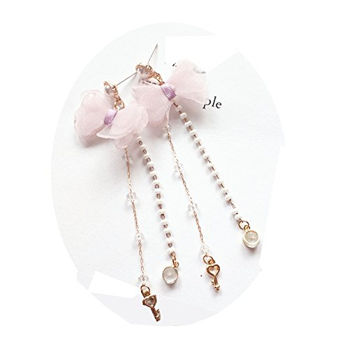 - TIDOO Jewelry Korean Style Sweet Pearl Tassel Earrings Light Pink and Purple Flower Ear Stud (E# Bowknot & Key)