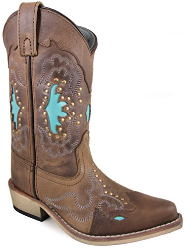 Smoky Mountain Children's Moon Bay Studded Design Snip Toe Brown Distress/Turquoise Boots 2.5M (Brown Turquoise Cowgirl And Boots)