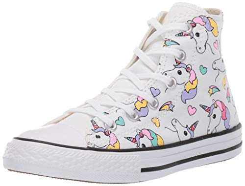 Converse Girls Kids' Chuck Taylor All Star Unicorn Print High Top Sneaker,  White/Black/Strawberry Jam, 11 M US Little Kid