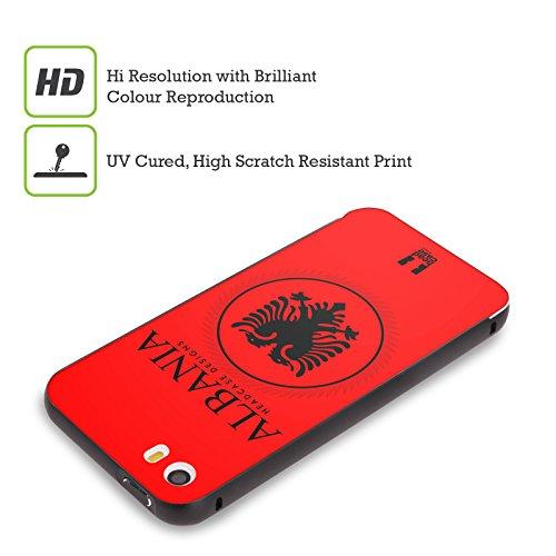 Head Case Designs Bandiera Albanese Bandiere E Toppe Nero Cover Contorno con Bumper in Alluminio per Apple iPhone 5 / 5s / SE