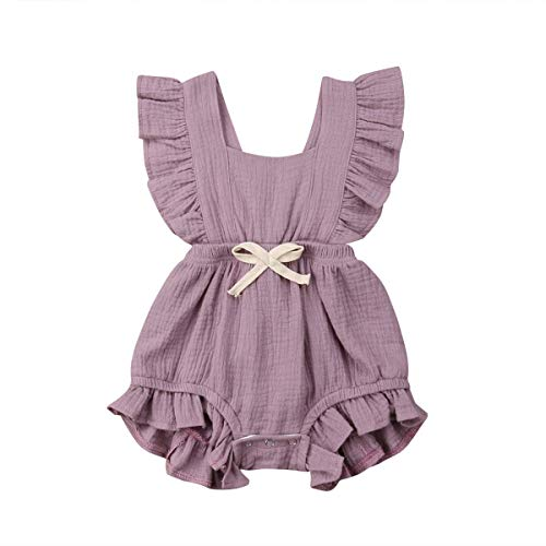 - Newborn Baby Girl Romper Bodysuits Cotton Flutter Sleeve One-Piece Romper Outfits Clothes (Purple, 80 (6-12Months))