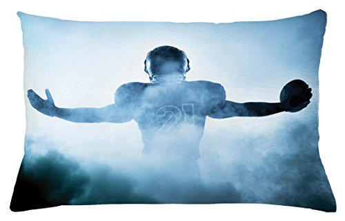 Ambesonne Sport Throw Pillow Cushion Cover, Heroic Shaped Rugby Player Silhouette Shadow Standing in Fog Playground Global Sports Photo, Decorative Rectangle Accent Pillow Case, 26