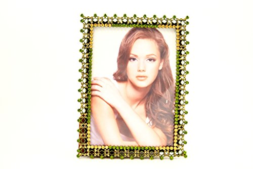 Ciel Collectables Kristina Picture Frame, Olive & Topaz Swarovski Crystal, Green Enamel Over Pewter, Antique Brass Plating, Brown Color Silk Back Have Two Way Easel, Holds,5 x 5, 5 x 7 Pictures
