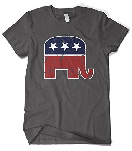 Cybertela Men's Faded Republican Elephant T-Shirt (Charcoal, X-Large) (T Christmas Shirts Funky)