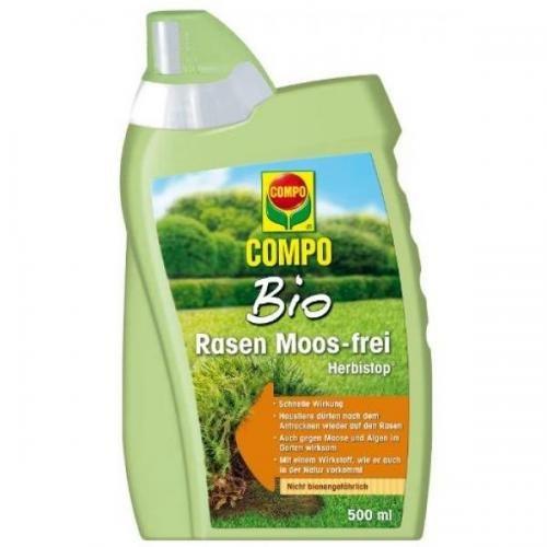 COMPO Bio Rasen Moos-Frei Herbistop 500 ml, Rasenunkraut- Vernichter, Unkraut- Ex