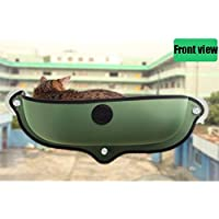 Ocamo Eazy Mount Cat Window Bed with Soft Mat Kitt Hammock Strong Suction Cups Comfortable Warm Nest for Pets Green