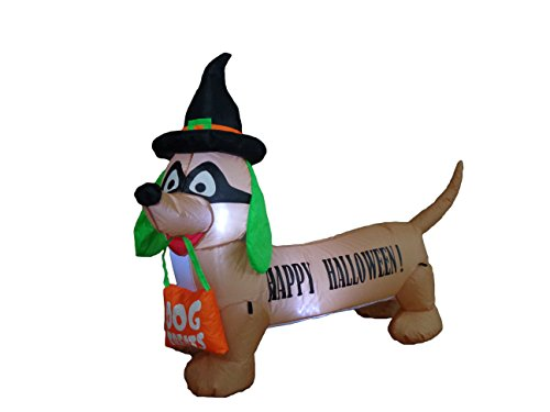 BZB Goods 4 Foot Long Illuminated Halloween Inflatable Dog with Witch Hat and Mask Decoration ()