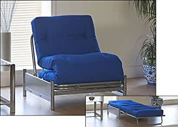 High Quality SINGLE FUTON   NEW SILVER METAL FRAMED FUTON CHAIR/BED COMPLETE WITH ROYAL  BLUE MATTRESS