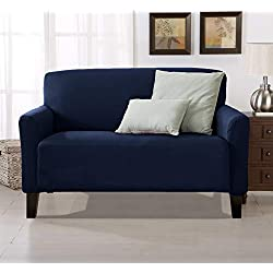 Home Fashion Designs Form Fit, Slip Resistant, Stylish Furniture Cover/Protector Featuring Lightweight Stretch Twill Fabric. Brenna Collection Strapless Slipcover (Loveseat, Navy - Solid)