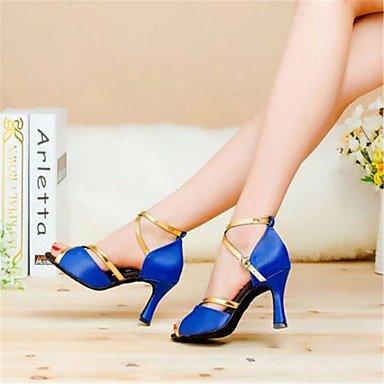 "Aemember - Zapatos de baile para mujer (Satén, tacones acampanados de 7,5 cm de altura), Red,US4-4.5 / EU34 / UK2-2.5 / CN33, 2 1/2"" (6.3cm) Cuban Heel Blue,US7.5 / EU38 / UK5.5 / CN38"
