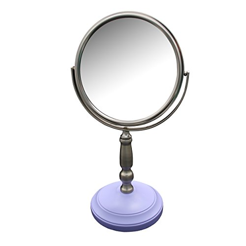 Elegant Home Fashions Dexter Freestanding Bath Magnifying Makeup Mirror Satin Nickel with Lavender Purple Base