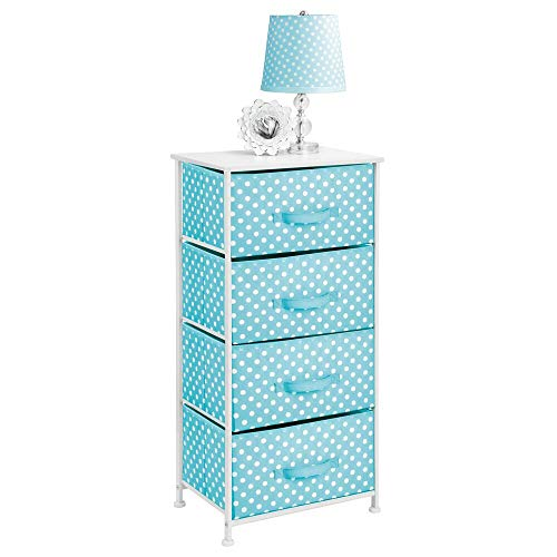 tical Dresser Storage Tower - Sturdy Steel Frame, Wood Top and Easy Pull Fabric Bins, Multi-Bin Organizer Unit for Child/Kids Bedroom or Nursery - Turquoise Blue/White Polka Dots ()