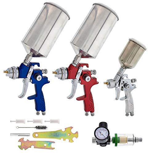 TCP Global Brand HVLP Spray Gun Set - 3 Sprayguns with Cups, Air Regulator & Maintenance Kit for All Auto Paint, Primer, Topcoat & Touch-Up, One Year Warranty (Best Hvlp Spray Gun For Furniture)