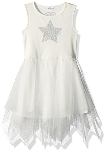 GUESS Little Girls' Sleeveless Star and Ruffled Dress, True White a, (Girls Star Dress)