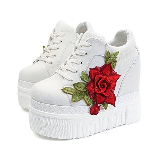 ACE SHOCK Women Fashion Platform Sneakers Wide Width High Hidden Heel Wedge Walking Shoes Flower (7.5, White) -