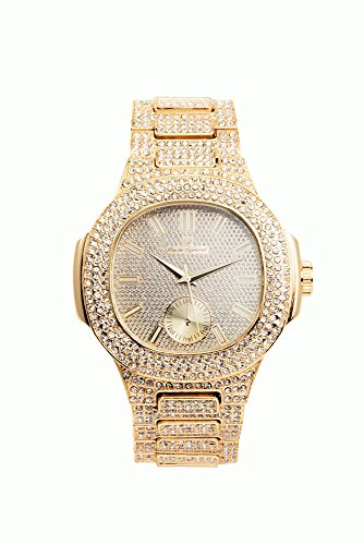 Gold Iced Out Watch - Bling-ed Out Oblong Case Metal Mens Watch - 8475 - Gold/Gold